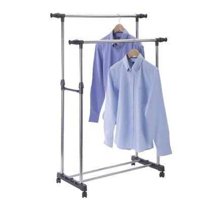 Portant à vêtements double barres en acier ajustable sur roulettes