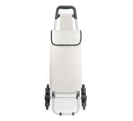 Chariot de course, poussette de marché isotherme 6 roues gris avec poche de rangement 43L