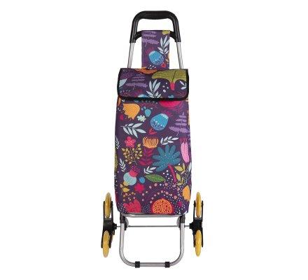 Chariot de course, poussette de marché isotherme 6 roues motif floral avec poche de rangement 43L