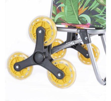 Chariot de course, poussette de marché isotherme 6 roues tropical avec poche de rangement 43L