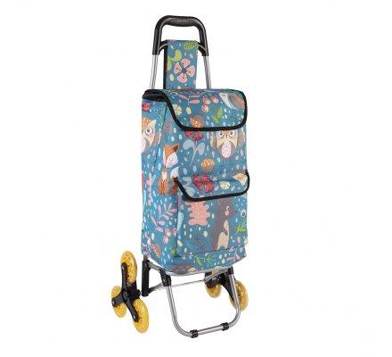 Chariot de course, poussette de marché isotherme 6 roues motifs animaux de la forêt avec poches extérieures de rangement 43L