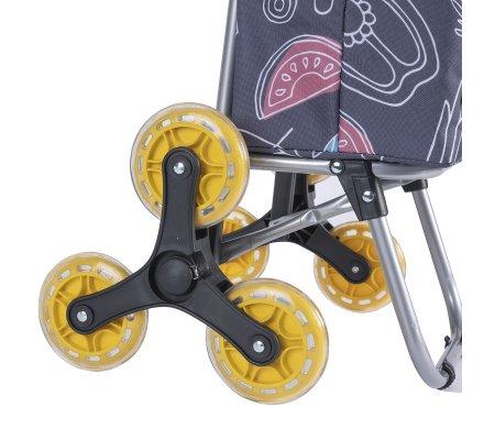Chariot de course, poussette de marché isotherme 6 roues motifs légumes avec poches extérieures de rangement 43L