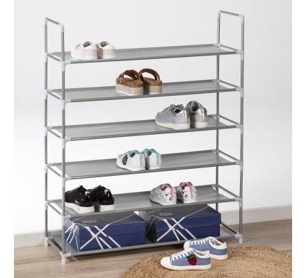 Etagère à chaussures 6 niveaux structure métal 28x86x106cm