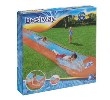 Tapis de glisse double piste gonflable avec jets d'eau L 549cm
