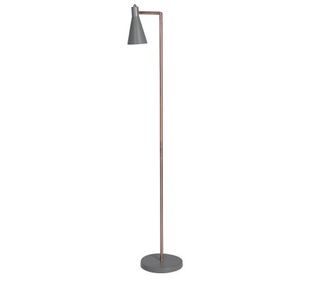 Lampadaire en métal cuivré abat-jour gris Atmosphéra H 135cm