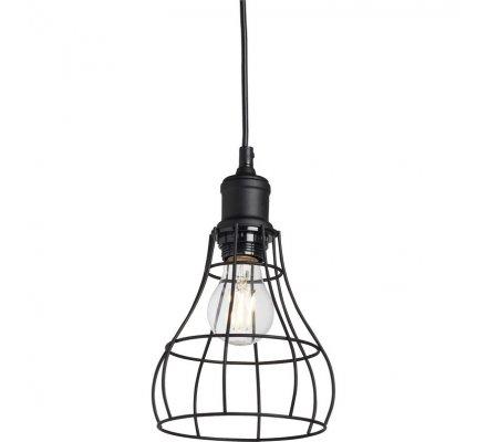 Luminaire suspension style industriel en métal noir D16cm