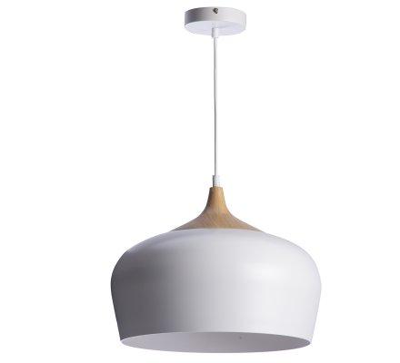 Luminaire suspension style scandinave en métal imitation bois et blanc D 35cm