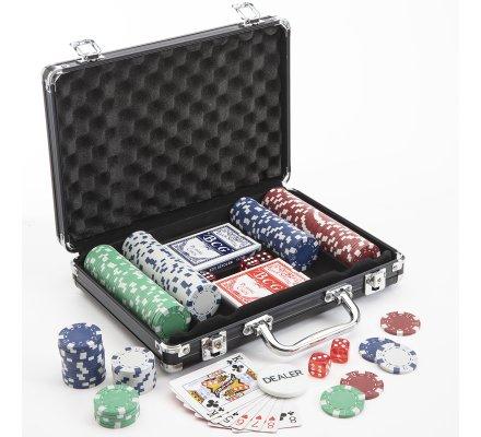 Mallette de Poker 200 jetons fermeture à clef 30x22cm