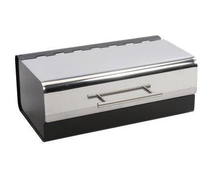 Boite à pain en métal noir 36x22,5x14,3cm