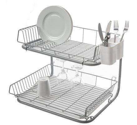 Egouttoir à vaisselle 2 niveaux en métal avec plateaux amovibles blanc H39cm