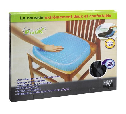 Coussin d'assise physiologique nid d'abeille gel confort 100% polyacrylamide