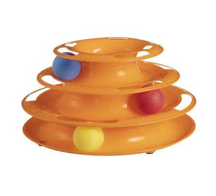 Station de jeu pour chat tour spirale 3 étages avec 3 balles H 13cm