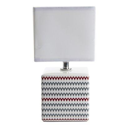 Lampe de chevet cube en céramique avec motifs gris et bordeaux H 22cm