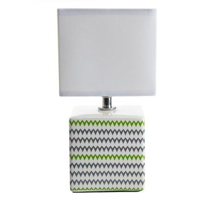 Lampe de chevet cube en céramique avec motifs gris et verts H 22cm