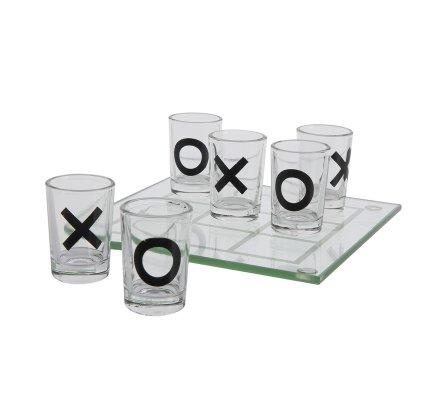 Jeu à boire morpion en verre avec 9 shooters