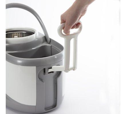 Seau essoreur avec centrifugeuse en inox, balai rotatif 360° avec mop pva ultra absorbante