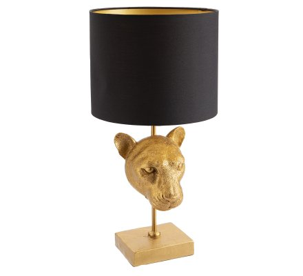 Lampe tête de panthère dorée abat jour noir H50cm