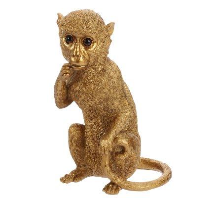 Statue résine singe doré 25cm