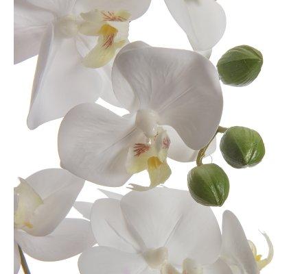 Orchidée artificielle blanche 2 branches au toucher réel dans son pot céramique rond H 46cm