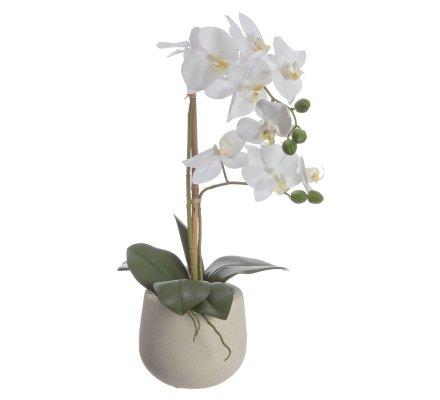 Orchidée artificielle blanche 2 branches au toucher réel avec pot en céramique H 46cm