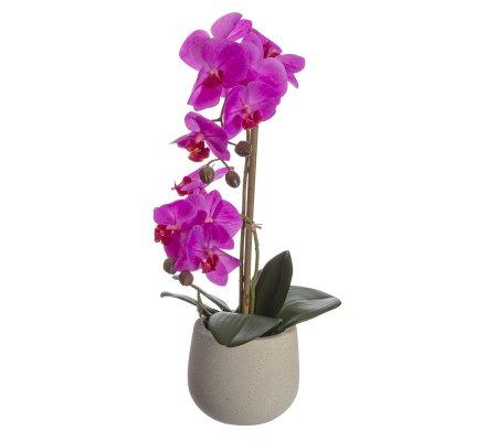 Orchidée artificielle fuchsia 2 branches au toucher réel avec pot en céramique H 46cm