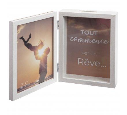 Cadre photo tirelire double photo en bois 20cm
