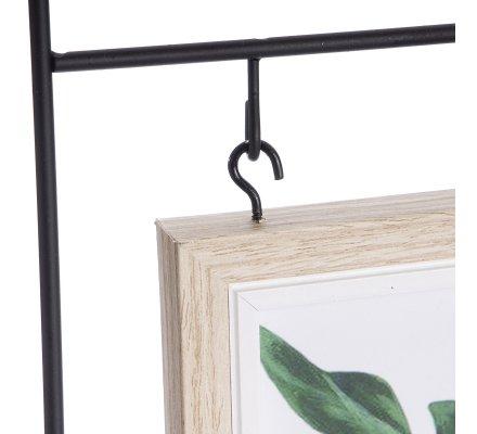 Pêle mêle design 2 photos suspendues en métal noir et bois H 49cm