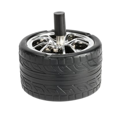 Cendrier rotatif en forme de roue D11cm coloris aléatoire