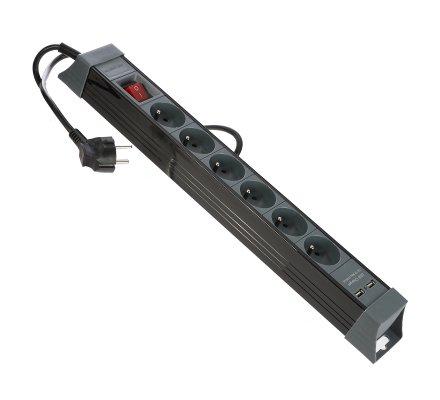 Bloc multiprise 6 prises avec interrupteur et 2 ports USB noir