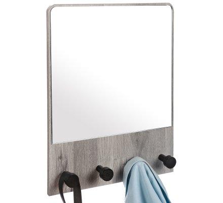 Miroir mural déco bois avec 4 patères H50cm