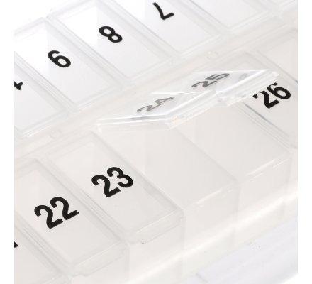 Pilulier mensuel plastique transparent 28cm