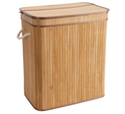 Panier, corbeille à linge pliable double compartiment en Bambou et corde