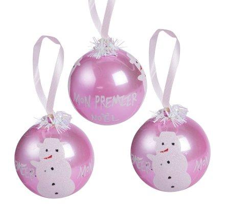 """Lot de 3 boules """"Mon premier Noël"""" décoration sapin rose"""