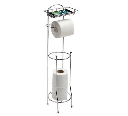 Dérouleur + support pour papier toilette et téléphone chrome