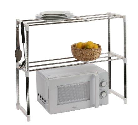 Etagère de cuisine extensible inox et plastique 60x25x50-87cm