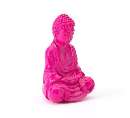 Statue déco Bouddha assis rose 7,5x10x15,5cm