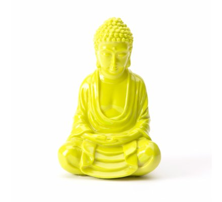 Statue déco Bouddha assis vert 7,5x10x15,5cm