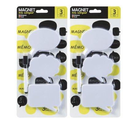 Lot de 6 Magnets frigo, aimant en forme de bulle à message avec 2 marqueurs