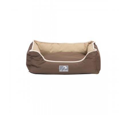 Panier pour animaux imperméable avec coussin déhoussable bicolore marron et beige 47X37X17cm