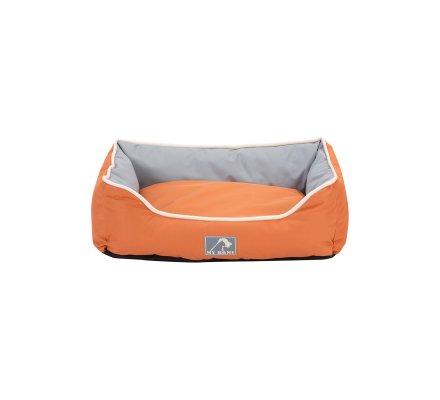 Panier pour animaux imperméable avec coussin déhoussable bicolore orange et gris 47X37X17cm