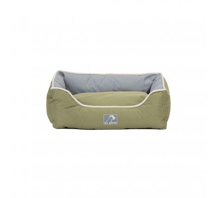 Panier pour animaux imperméable avec coussin déhoussable bicolore vert et gris 47X37X17cm
