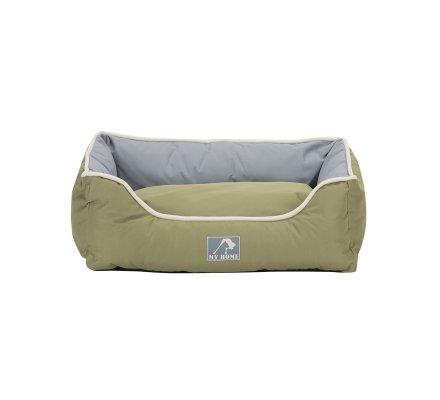 Panier pour animaux imperméable avec coussin déhoussable bicolore vert et gris 61X48X18cm