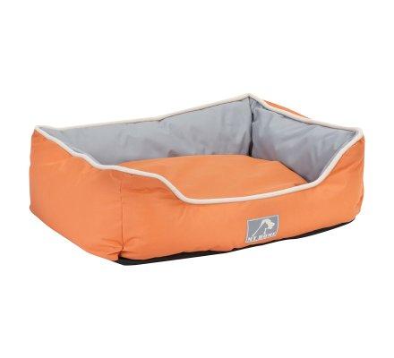 Panier pour animaux imperméable avec coussin déhoussable bicolore orange et gris grand format 75X58X19cm