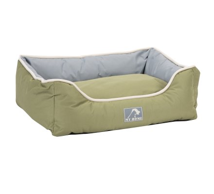 Panier pour animaux imperméable avec coussin déhoussable bicolore vert et gris grand format 75X58X19cm