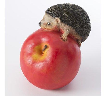 Hérisson sur pomme en résine déco extérieur H21cm