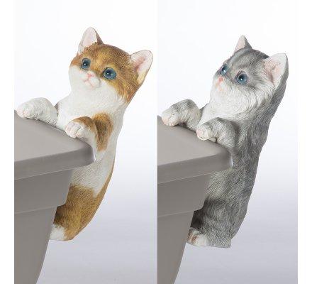 Lot de 2 chats figurine déco jardin en résine à poser ou suspendre 16cm