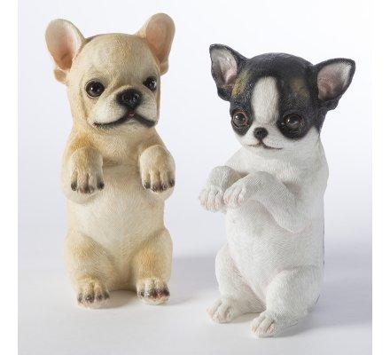 Lot de 2 chiens figurine déco jardin en résine à poser ou suspendre 16cm