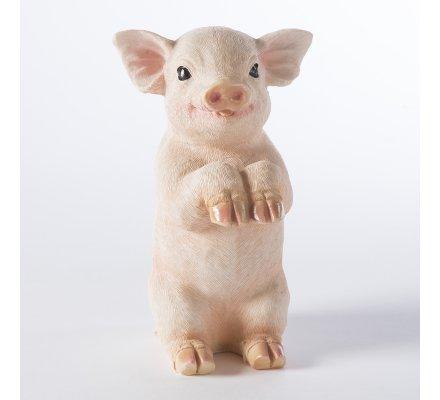 Cochon figurine déco jardin en résine à poser ou suspendre 16cm
