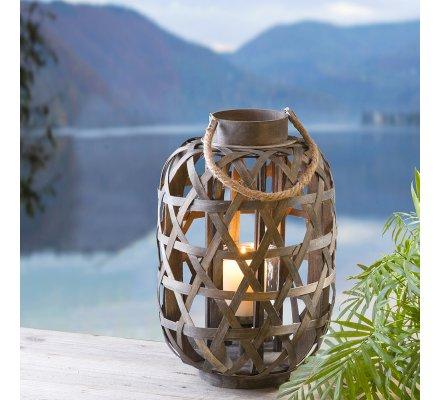 Lanterne, photophore nature à suspendre en bois tressé et corde H60cm