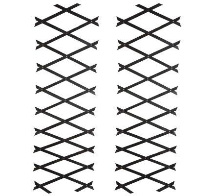 Lot de 2 treillis ou barrières en bois fin extensible 180cmx31cm coloris anthracite